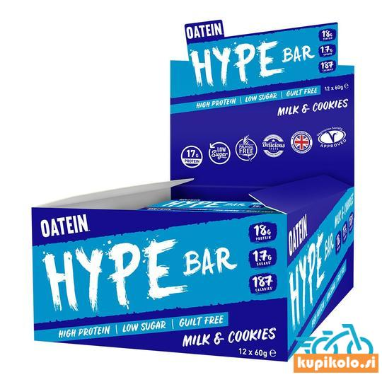 beljakovinska ploščica       protein bar     ŠKATLA OATEIN HYPE BAR 12X 60G - 18G BELJAKOVIN